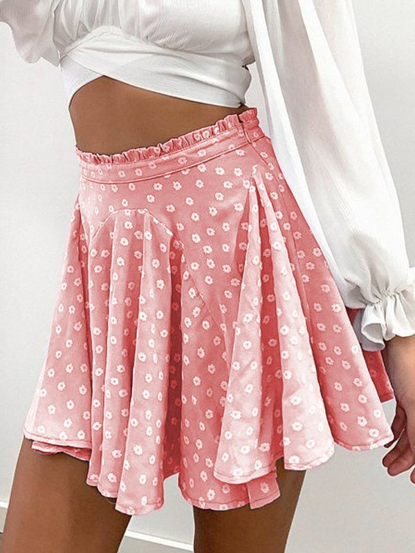 Daisy Print Skate Mini Skirt - Pink L