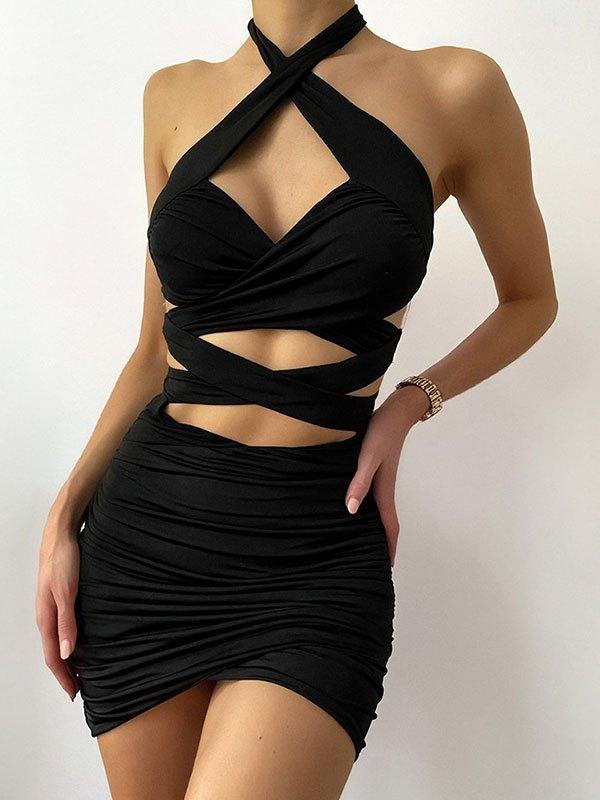 Cross Over Halter Bodycon Mini Dress - Black L