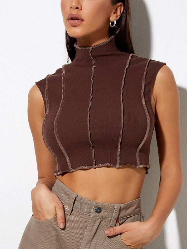 Splice Stand Collar Crop Tank Top - Brown M