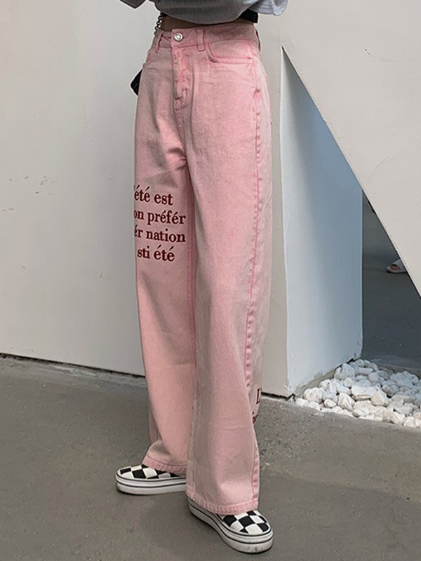 Letter Embroidered Boyfriend Jeans - Pink S