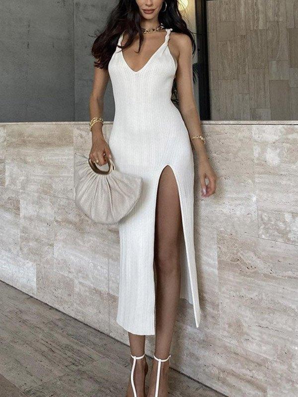 V Neck Slit Maxi Dress - White L