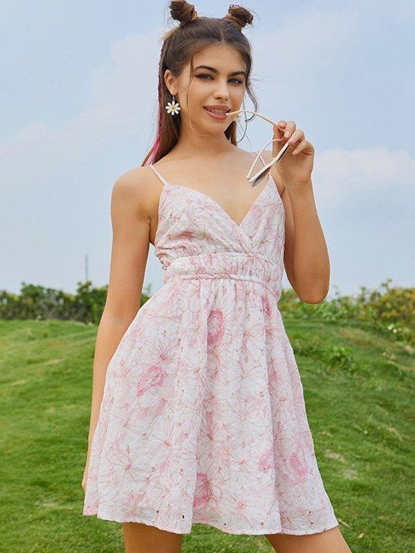 V-Neck Floral Wrap Mini Dress - Pink L