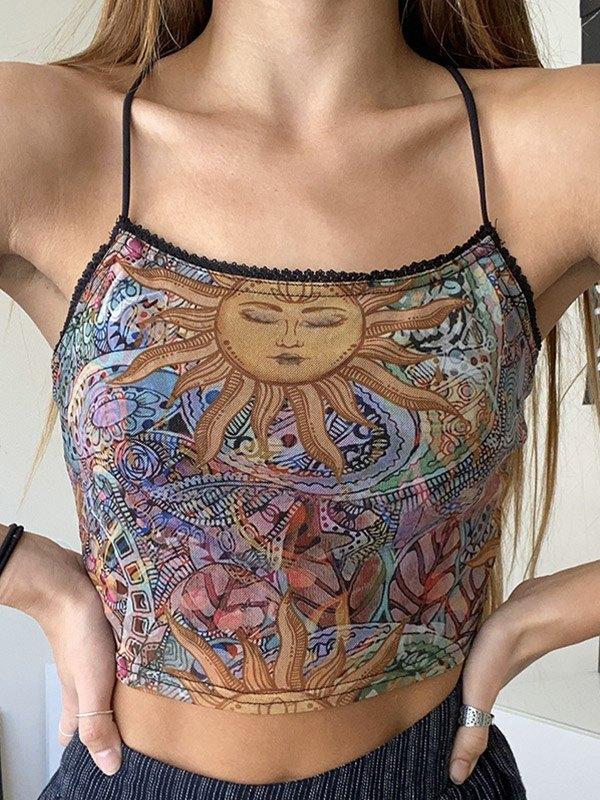 Mixed Sun Print Crop Cami Top - Brown M