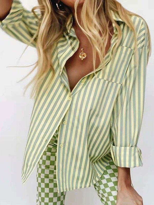 Stripe Print Long Sleeve Blouse - Green L