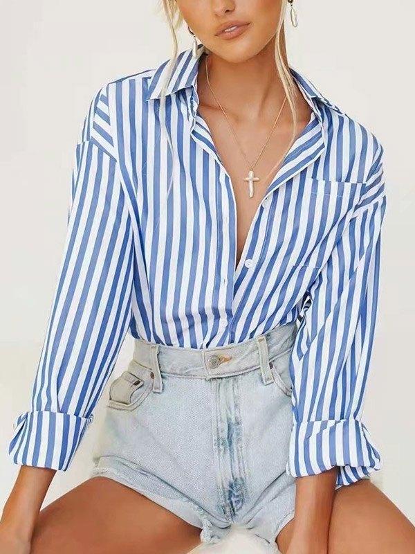 Stripe Print Long Sleeve Blouse - Blue L