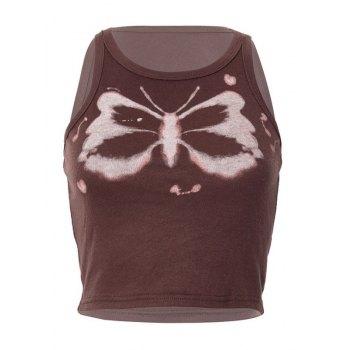 Camiseta sin mangas corta con estampado de mariposas