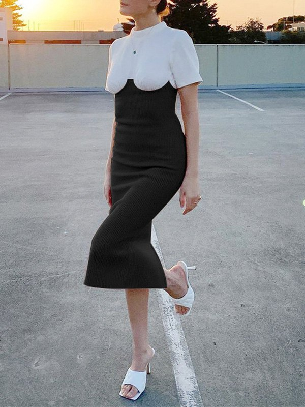 Patchwork Knit Short Sleeve Maxi Dress - Black S