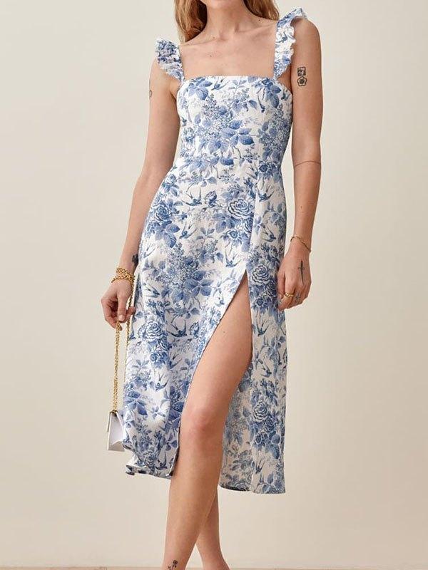 Vintage Floral Slit Maxi Dress - White M