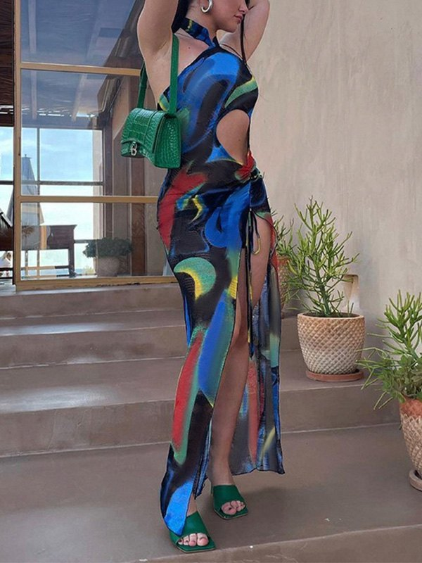 Cutout Slit Halter Mesh Maxi Dress - Black L