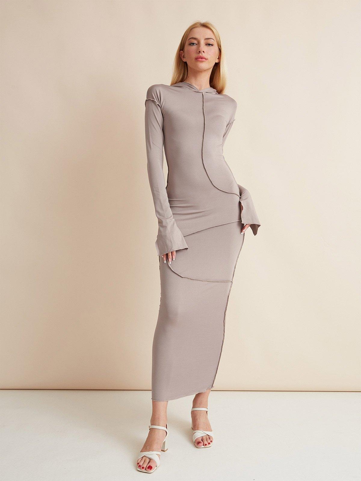Seam Detail Hooded Maxi Dress - Brown M