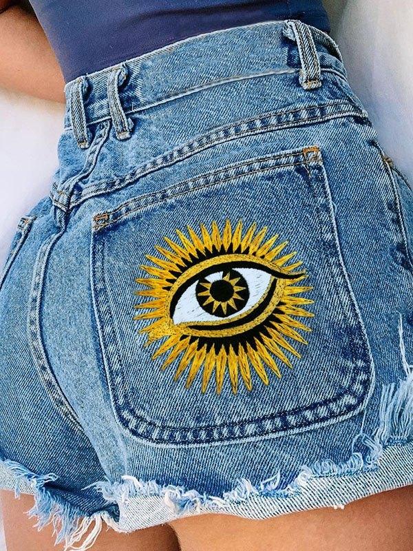 Eye Graphic Distressed Denim Shorts - Blue M