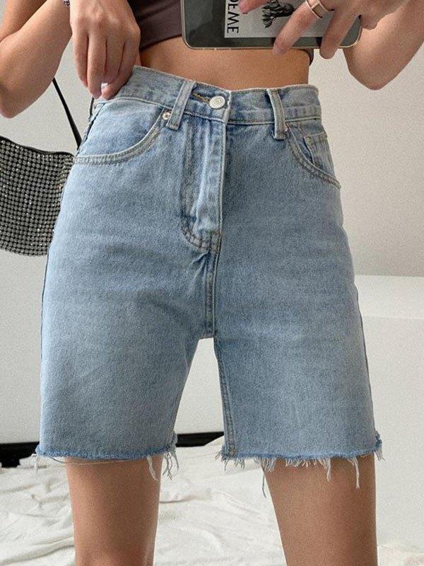 Washed Denim Bermuda Shorts - Blue S