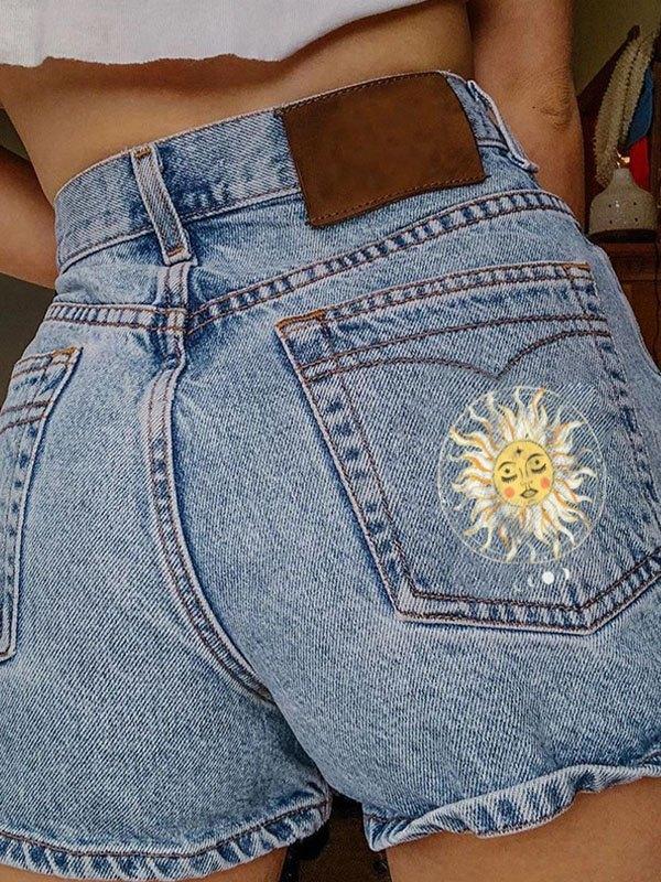 Sun Print Washed Denim Shorts - Blue M