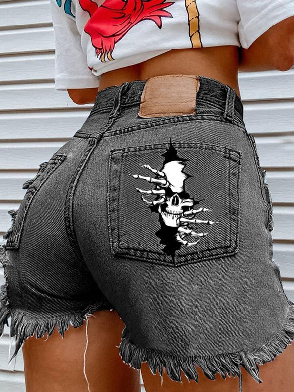 Skull Print Distressed Denim Shorts -