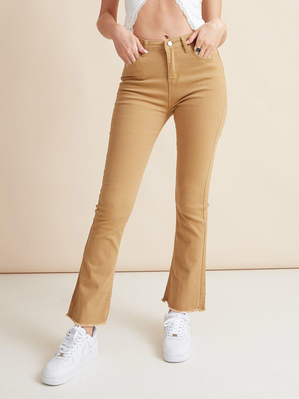 Vintage High Rise Flared Slim Jeans - Camel S