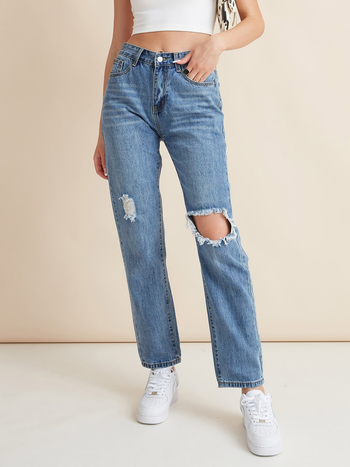 High Waist Ripped Slim Jeans -