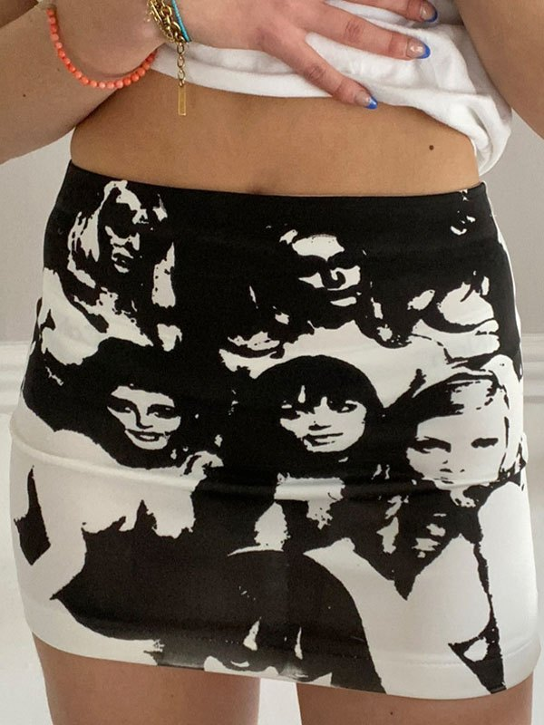 Screen Face Print Mini Skirt - Black S
