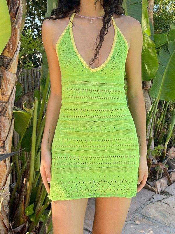 Crochet Knit Halter Mini Dress - Green S