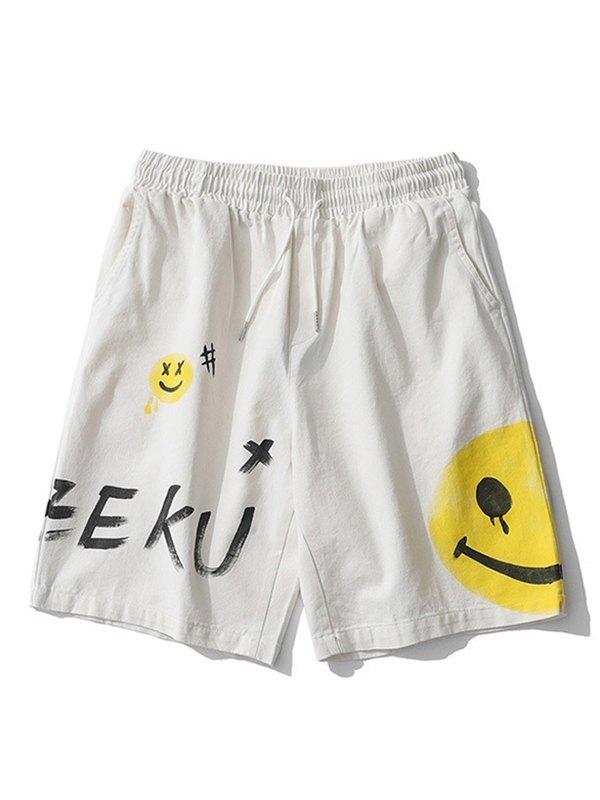 Men's Graffiti Smile Print Cotton Shorts - White L
