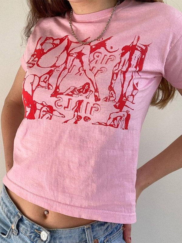 Girls Screen Print Crop Top - Pink M