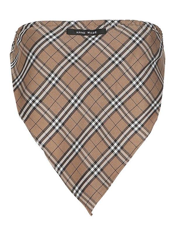 Checkered Print Crop Bandeau Top - Apricot L