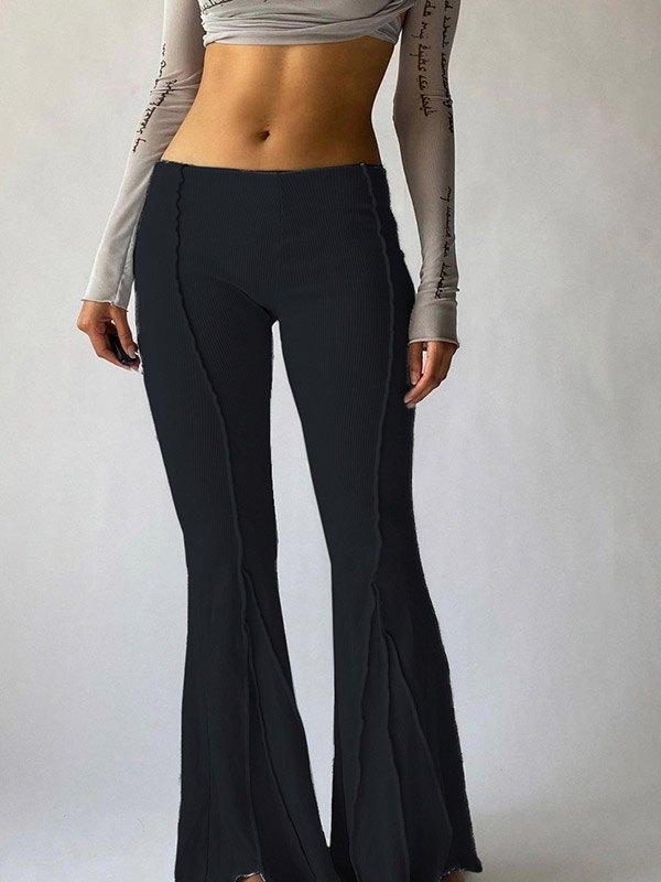 Stitched Detail Flare Leg Pants - Black L
