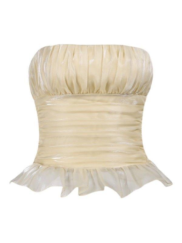 Ruched Ruffle Crop Bandeau Top - Cream M