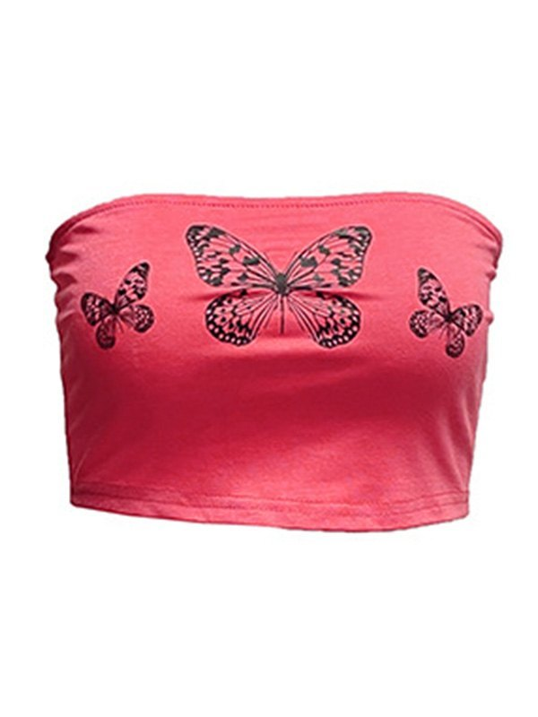 Butterfly Print Crop Bandeau Top - Pink S