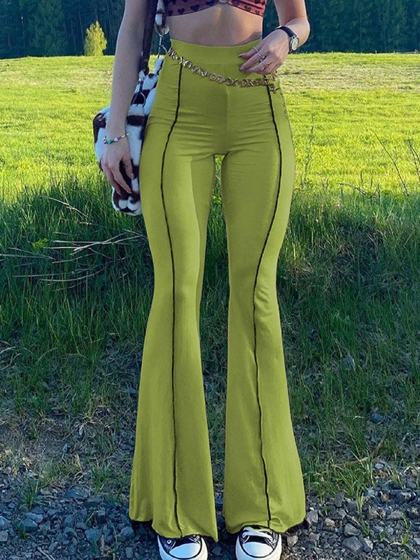 Stitched Detail Flare Leg Pants - Green L