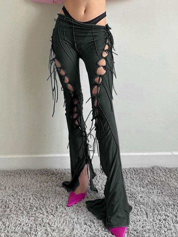 Pantalones acampanados de malla con aberturas y cordones - Negro S