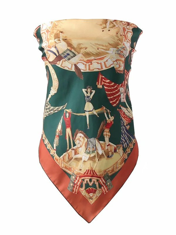 Circus Print Longline Bandeau Top - Turquoise Green ONE SIZE