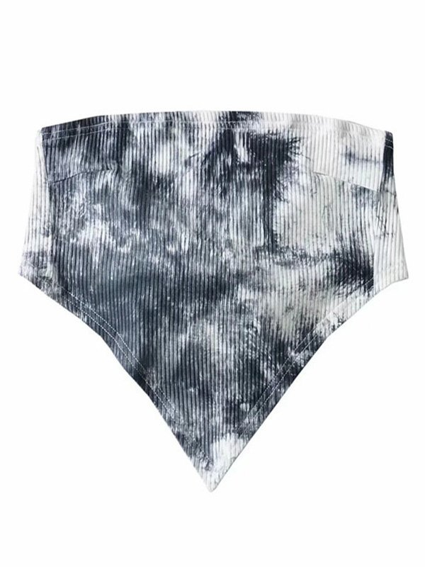 Tie Dye Rib Crop Bandeau Top - Black ONE SIZE