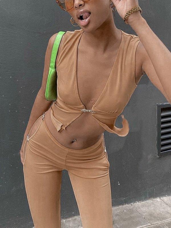 Hook Detail Cutout Flare Leg Pants Set - Apricot L