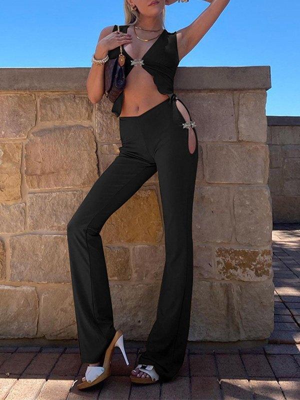 Hook Detail Cutout Flare Leg Pants Set - Black L