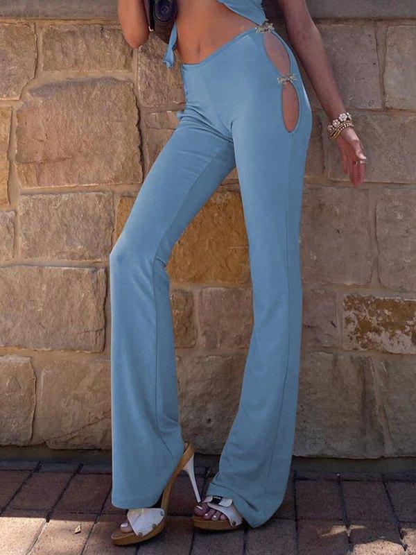 Hooked Cutout Flare Leg Pants - Pure Blue M