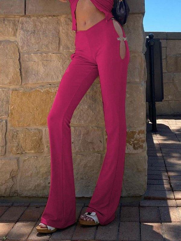 Hooked Cutout Flare Leg Pants - Beetroot Purple M