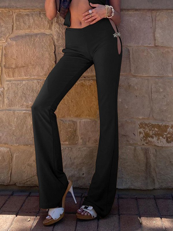 Hooked Cutout Flare Leg Pants - Black M