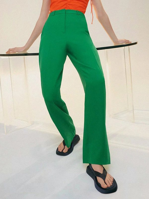 Green High Rise Tailored Pants - Green L