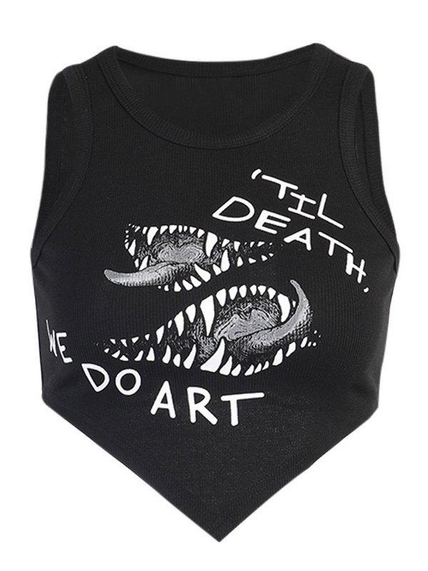 Death Art Rib Crop Tank Top - Black M