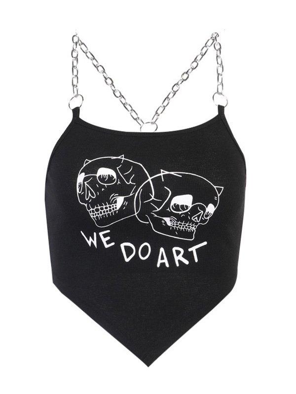 Chain Detail Printed Rib Crop Cami Top - Black M