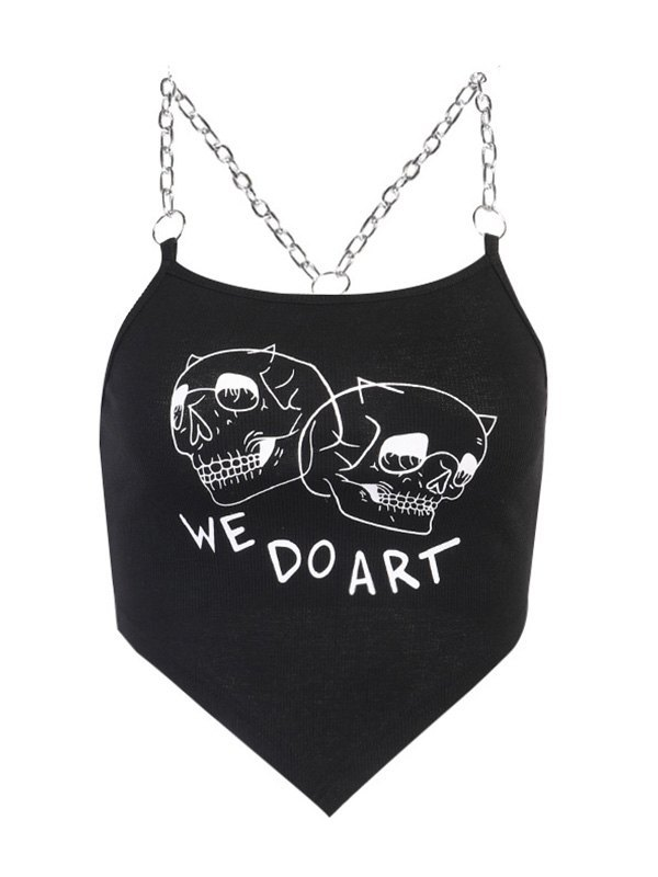Chain Detail Printed Rib Crop Cami Top - Black L