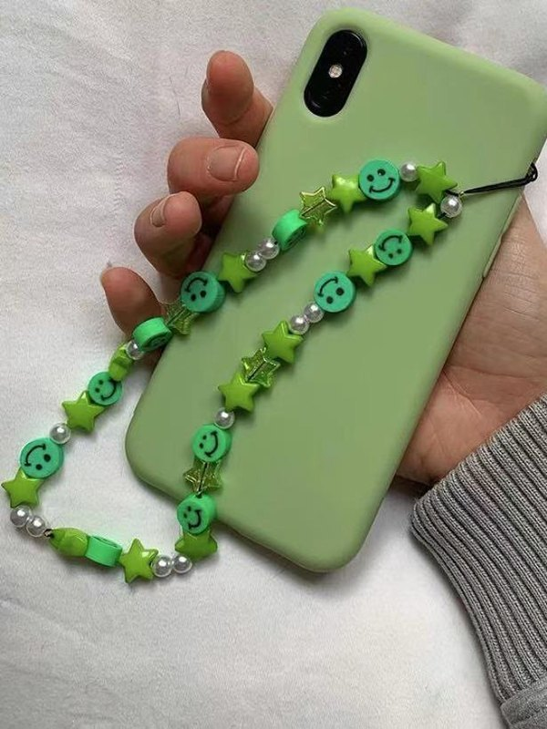 Smiley Decor Phone Chain - Green ONE SIZE