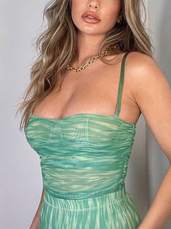 Bodycon Mesh Sling Bodysuit - Green M