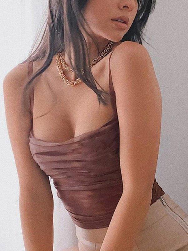 Bodycon Mesh Sling Bodysuit - Coffee L