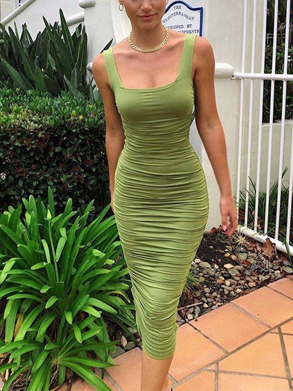 Ruched Bodycon Strap Midi Dress - Green S