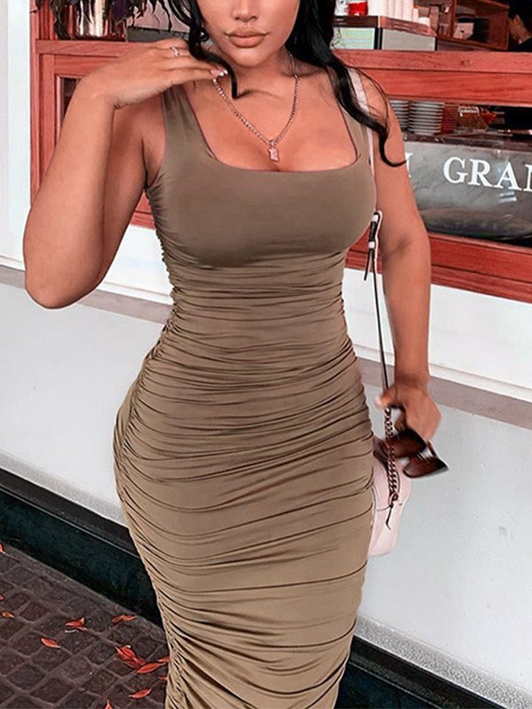 Ruched Bodycon Strap Midi Dress - Brown S