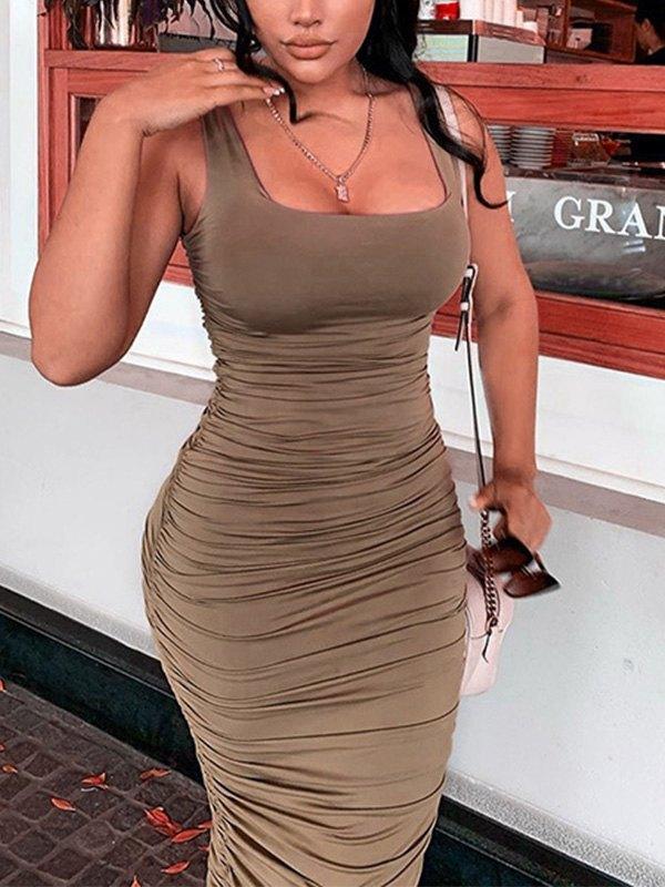 Ruched Bodycon Strap Midi Dress - Brown L