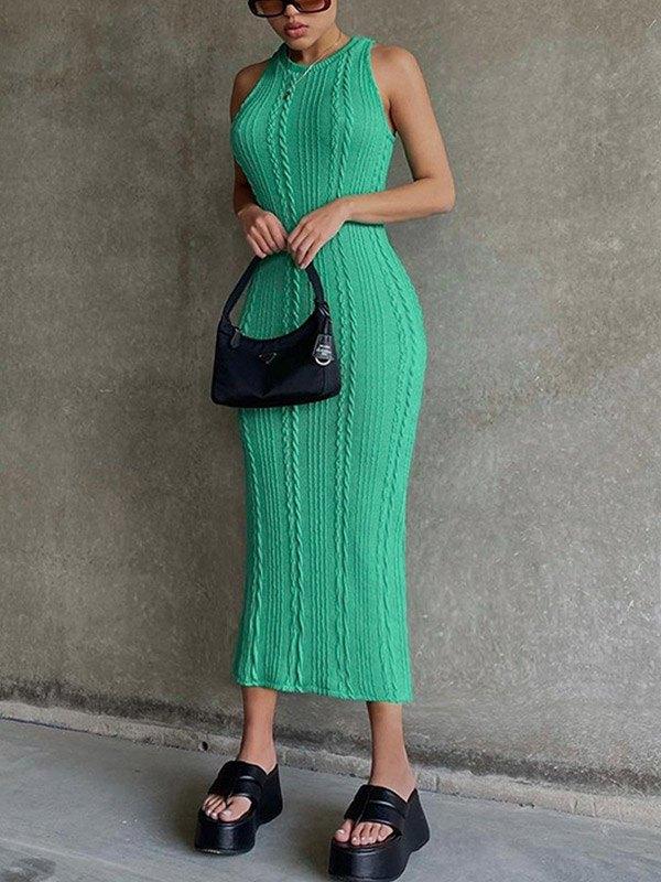 Cable Knit Bodycon Midi Dress - Green L