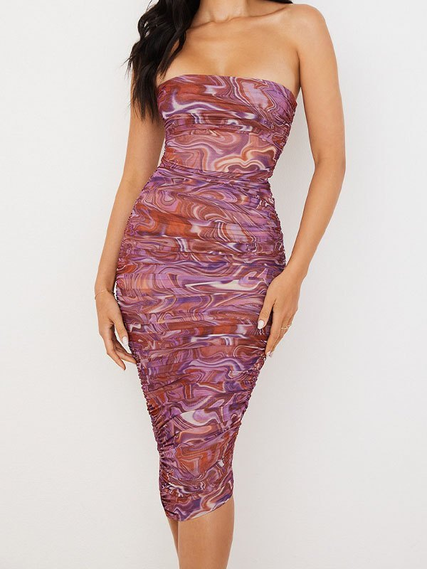 Strapless Swirl Print Ruched Midi Dress - As The Picture L