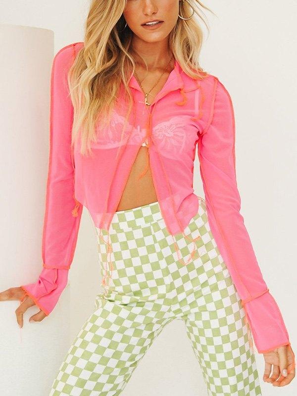 Reverse Sheer Mesh Crop Top - Pink S